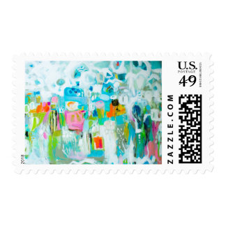 Abstract Blue Postage