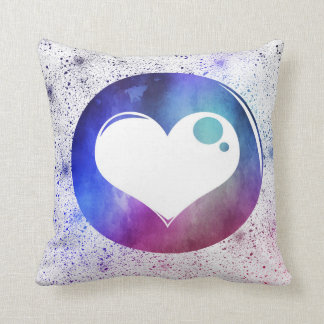Abstract Blue & Purple Watercolor Heart Design Throw Pillow