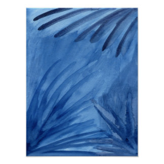 Abstract Blue Rays Watercolor Painting Poster