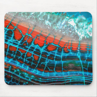 Abstract Blue Red Dragon Vein Agate Sea Mousepad