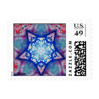 ABSTRACT BLUE RED PINK PURPLE STAR STAMP