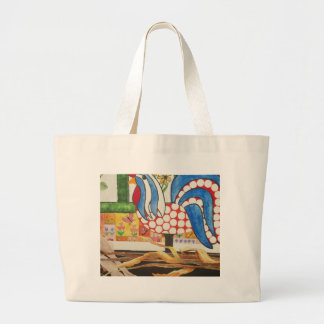 abstract blue rooster canvas bag
