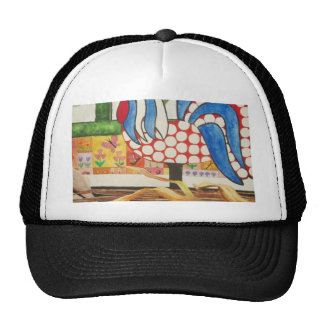 abstract blue rooster hat