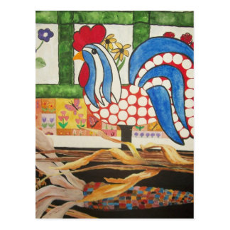abstract blue rooster postcard