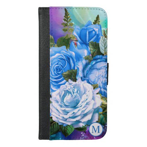 Abstract Blue Roses Design | Monogram iPhone 6/6s Plus Wallet Case