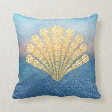 Beach Themed Abstract Blue Sea Gold Diamond Seashell Throw Pillow