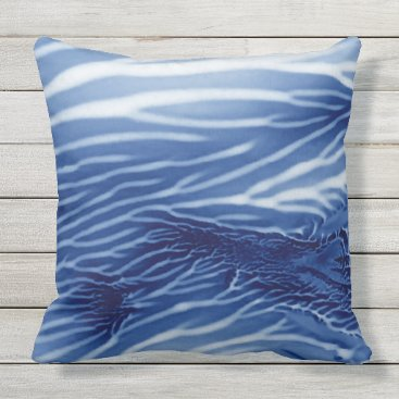 Beach Themed Abstract Blue Sea Monoprint Outdoor Pillow