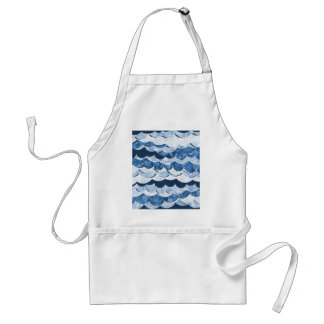 Abstract Blue Sea Waves Design Adult Apron