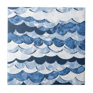 Abstract Blue Sea Waves Design Ceramic Tile
