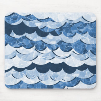 Abstract Blue Sea Waves Design Mouse Pad