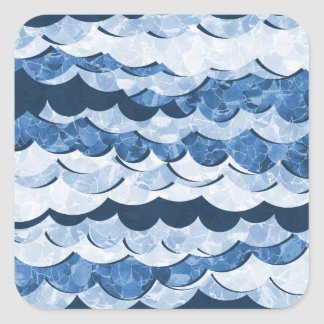 Abstract Blue Sea Waves Design Square Sticker