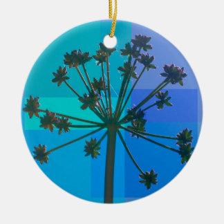 Abstract Blue SeedPod Ceramic Ornament