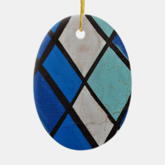 abstract blue shapes pattern ceramic ornament