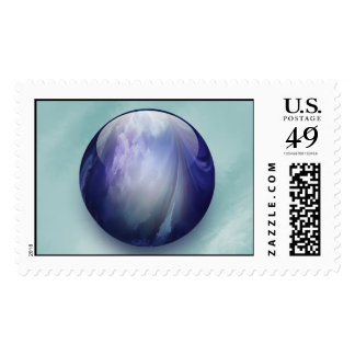 Abstract Blue Shiny Glass Marble Stamp