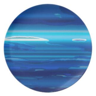 Abstract Blue Sky Melamine Plate