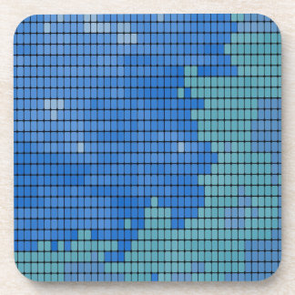 Abstract Blue Square Pattern Drink Coaster