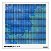 Abstract Blue Square Pattern Wall Sticker