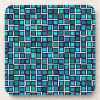 Abstract Blue Squares Pattern Coasters