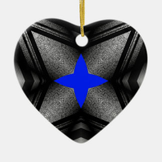 Abstract Blue Star Ceramic Ornament