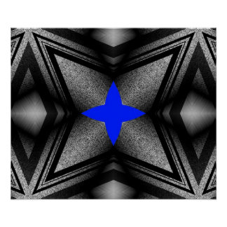 Abstract Blue Star Poster