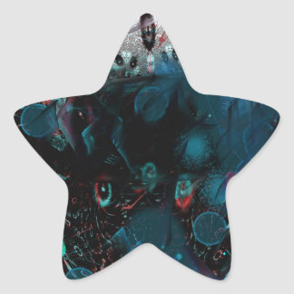 abstract blue star sticker