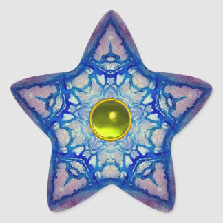 ABSTRACT BLUE STAR WITH YELLOW TOPAZ GEM STONE STAR STICKER