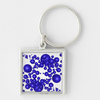 Abstract Blue Swarm Silver-Colored Square Keychain