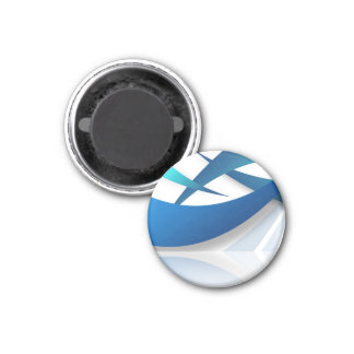Abstract Blue Swoosh Textured 1 Inch Round Magnet