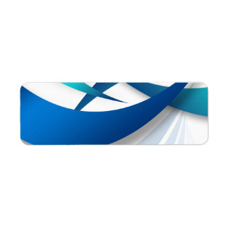 Abstract Blue Swoosh Textured Label