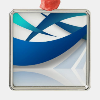 Abstract Blue Swoosh Textured Metal Ornament