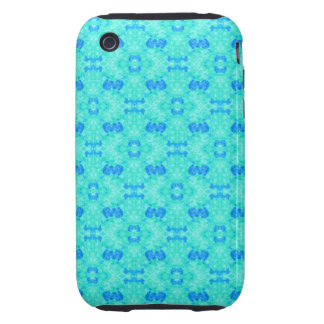Abstract blue teal watercolor water drops pattern. tough iPhone 3 case