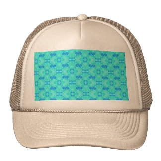 Abstract blue teal watercolor water drops pattern. trucker hat