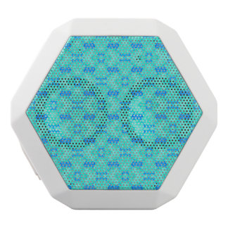 Abstract blue teal watercolor water drops pattern. white bluetooth speaker