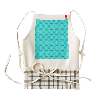 Abstract blue teal watercolor water drops pattern. zazzle HEART apron