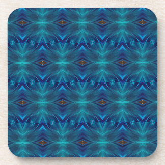 Abstract blue tiles drink coaster