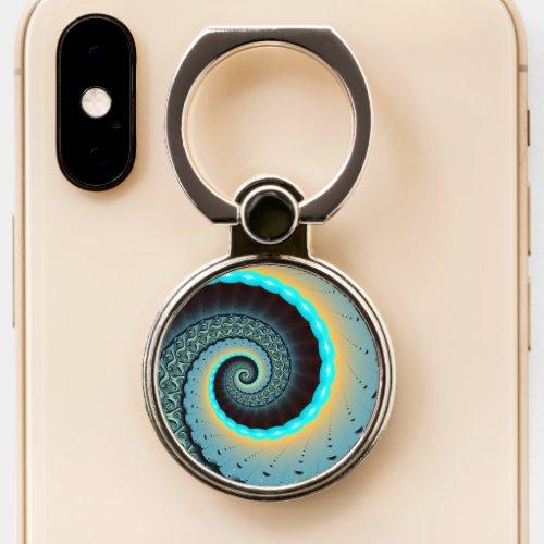 Abstract Blue Turquoise Orange Fractal Art Spiral Phone Case