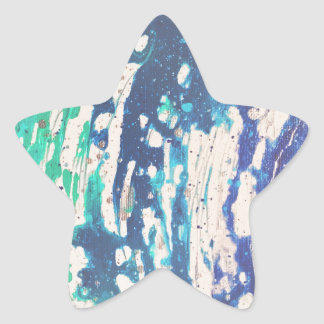 Abstract Blue Water Dancing painting Star Sticker