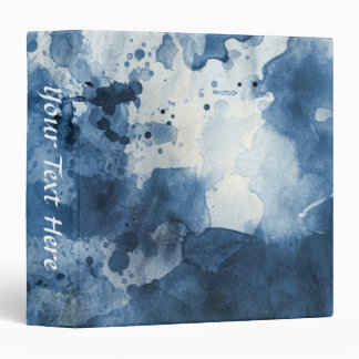 Abstract blue watercolor background 3 ring binder