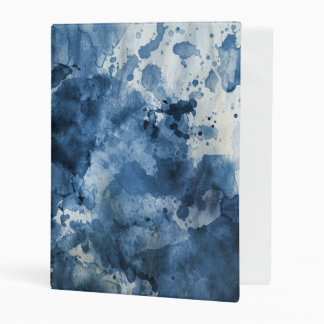Abstract blue watercolor background mini binder