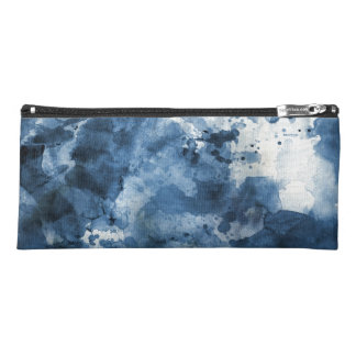 Abstract blue watercolor background pencil case