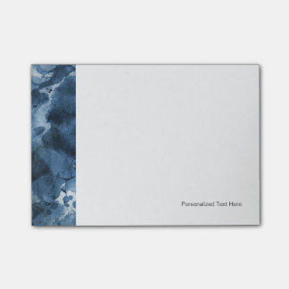 Abstract blue watercolor background post-it notes