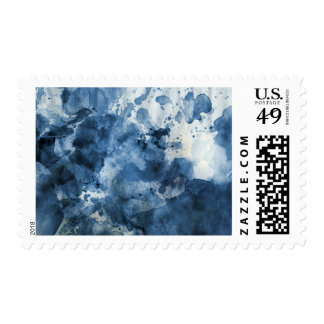 Abstract blue watercolor background postage