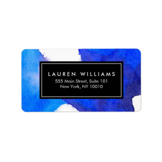 Abstract Blue Watercolor Label
