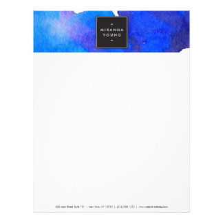Abstract Blue Watercolor Letterhead