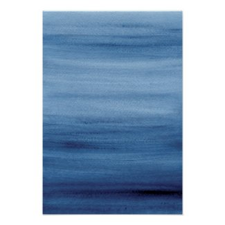Abstract Blue Watercolor Painting Poster