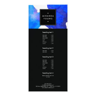 Abstract Blue Watercolor Rack Card