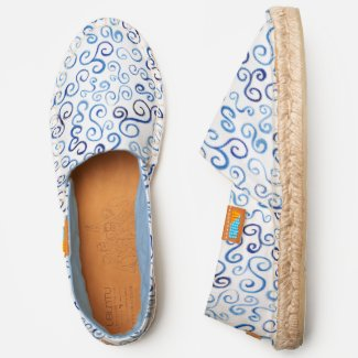 Abstract Blue Watercolor Scrolling Curves on White Espadrilles
