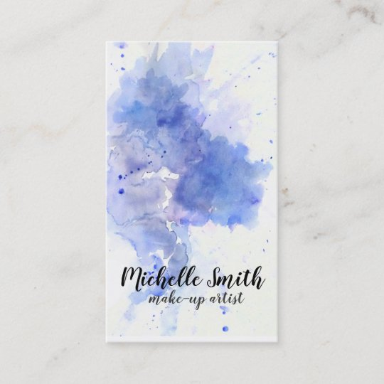 Abstract Blue Watercolor Splash Make Up Artist Business Card