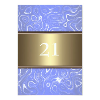 Abstract Blue White Bronze Trim 21st Birthday Card