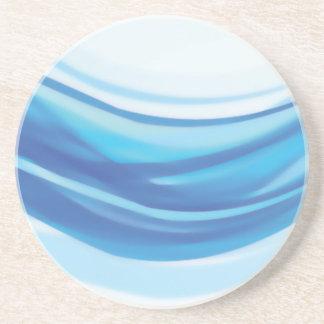 ABSTRACT BLUE WHITE DIGITAL SWIRLS COOL DIGITAL BA SANDSTONE COASTER
